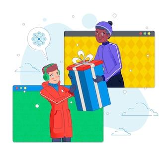 Des amis illustrés célébrant noël en ligne en raison de la quarantaine