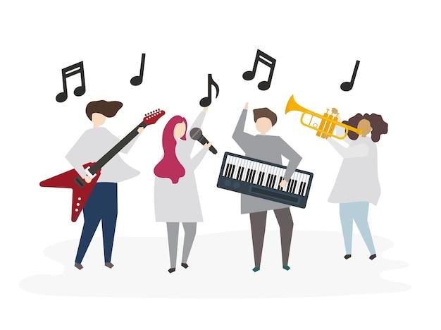 Amis illustrés jouant de la musique ensemble