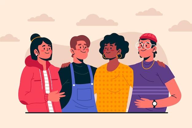 Amis interraciaux posant ensemble