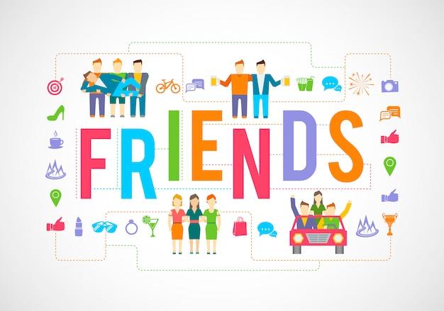 Amis et jeu d'icônes de relation communauté sociale