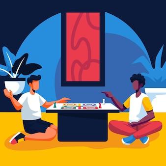 Amis jouant au jeu ludo