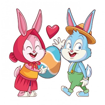 Amis de lapin de pâques mignon heureux