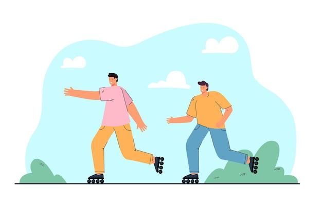 Amis masculins faisant du patin à roulettes ensemble illustration plate
