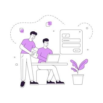 Amis masculins se connectant à un compte de réseau social