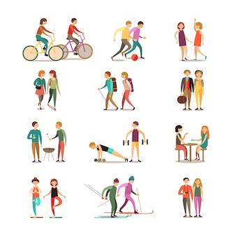 Amis et passe-temps décoratif icons set