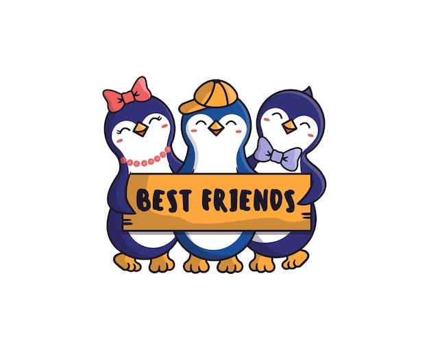 Les amis penguins se font un câlin. les animaux caricaturaux tiennent une plaque d'inscription avec une phrase de lettrage - meilleurs amis.