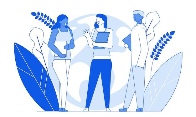 Amis de personnages plats dessin animé moderne parlant