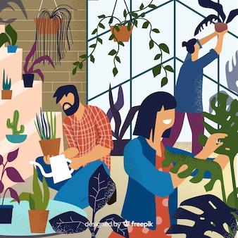 Amis prenant soin des plantes