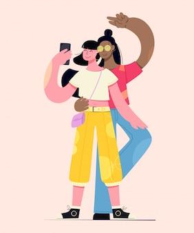 Amis selfie. les filles prennent des selfies. illustration créative des personnages.