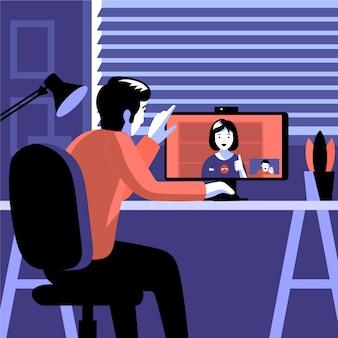 Amis vidéo appelant sur ordinateur