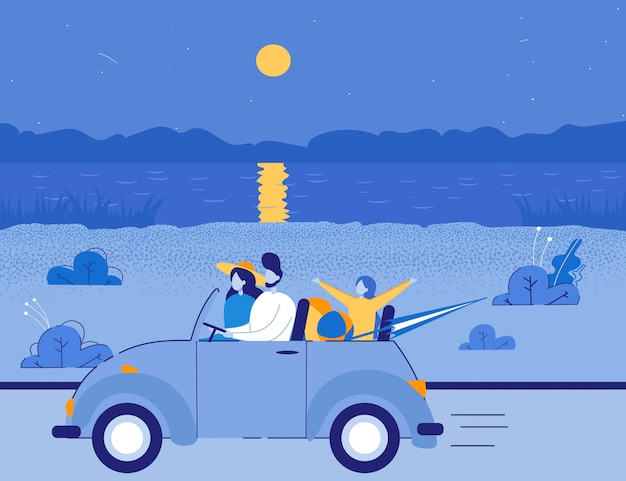 Amis voyageant en cabriolet à la mer.