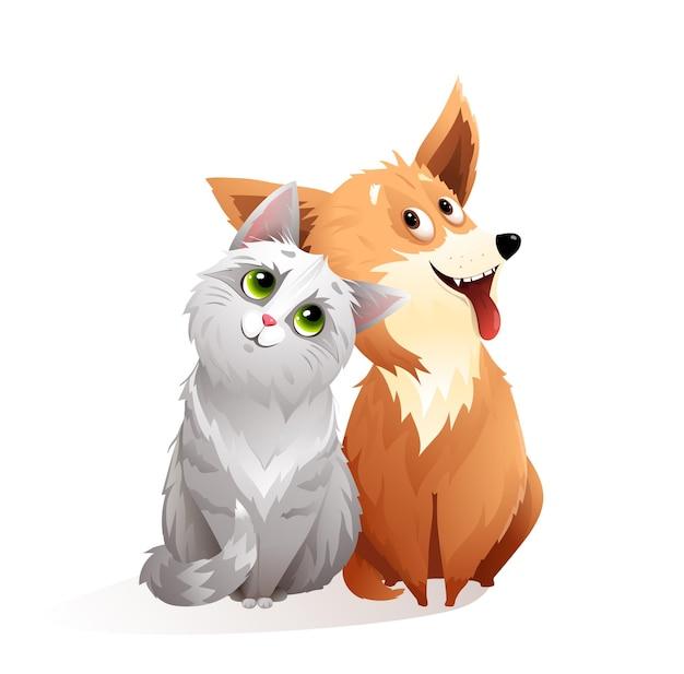 Amitié adorable chat et chien, illustration de dessin animé