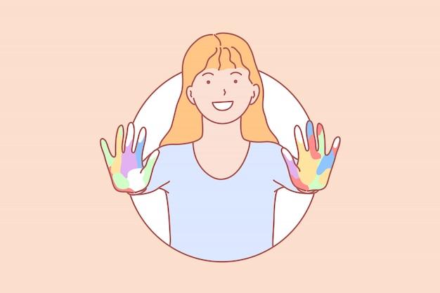 Amitié, apprentissage, mains, illustration de jeu
