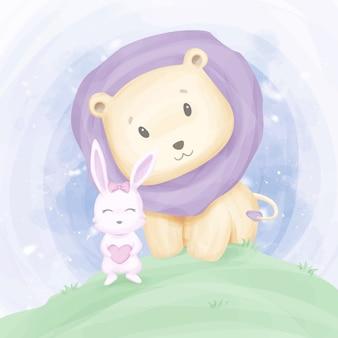 Amitié bébé lion et lapin
