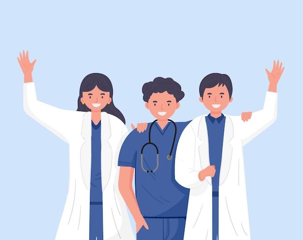 Amitié docteur. agitant joyeusement. équipe médicale. illustration de concept médical. illustration vectorielle dans un style plat.