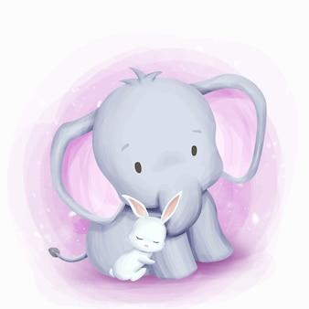 Amitié éléphant et lapin