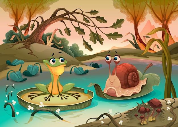 Amitié entre grenouille et escargot.