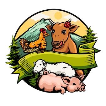 Amitié entre vache poulet cochon mouton logo illustration