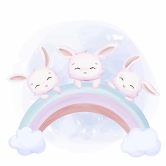 Amitié petits lapins sur arc-en-ciel