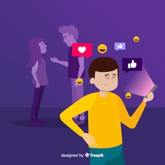 Amitié se déplaçant sur l'espace web en ligne