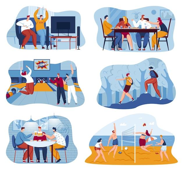 Amitié set vector illustration personnes homme femme caractère heureux ensemble jouer à des jeux vidéo et de table bowling volley collection en plein air