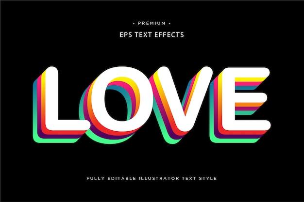 Amour 3d effet de texte multicolore - style de texte 3d