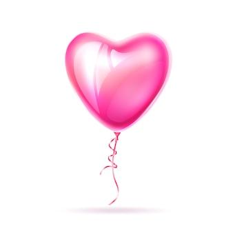 Amour de ballon rose en forme de coeur réaliste