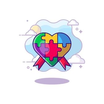 Amour avec bande dessinée de jour d'autisme de ruban. concept de la journée de l'autisme. style de dessin animé plat.