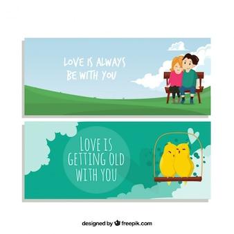 Amour bannières avec des messages inspirants