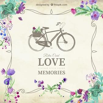 Amour carte souvenirs avec bicyclette vintage