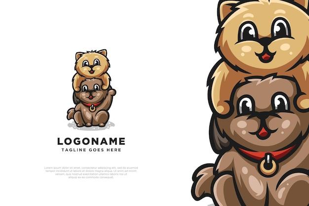 Amour chat chien logo design illustration