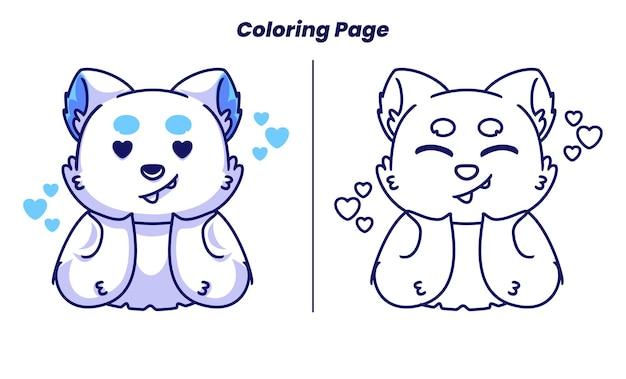 Amour de chat mignon avec des pages à colorier adaptées aux enfants