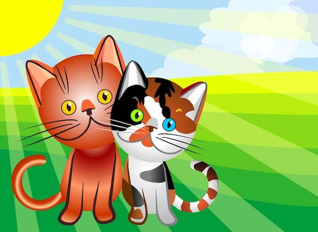 Amour de chat de vecteur