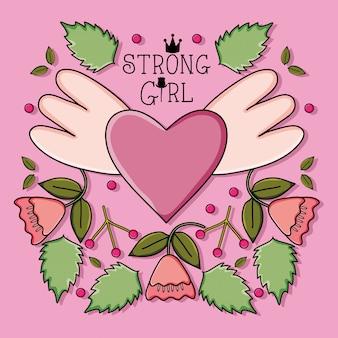 Amour coeur avec ailes et roses style pop art