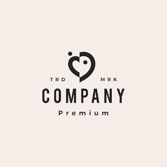 Amour coeur personnes famille équipe communauté hipster vintage logo vector icône illustration
