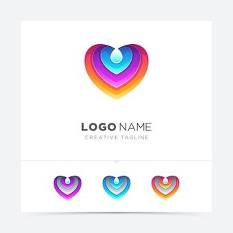Amour coloré avec logo goutte d'eau