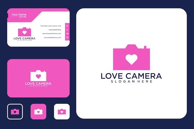 Amour de la conception du logo de la caméra et de la carte de visite