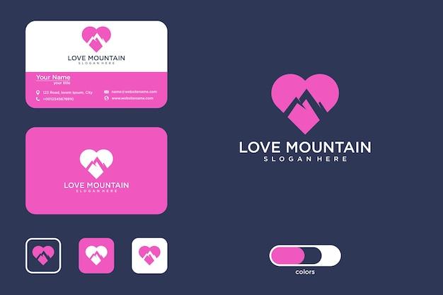 Amour de la conception du logo de la montagne et de la carte de visite
