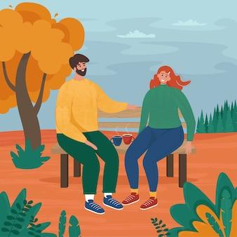 Amour couple assis sur un banc à l'automne. illustration