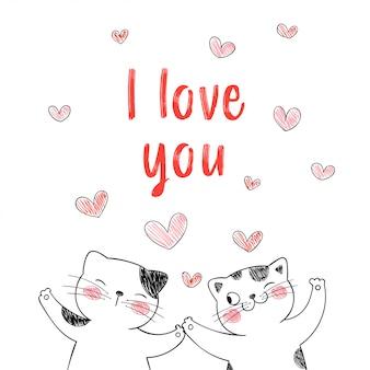 Amour couple de chats avec coeurs