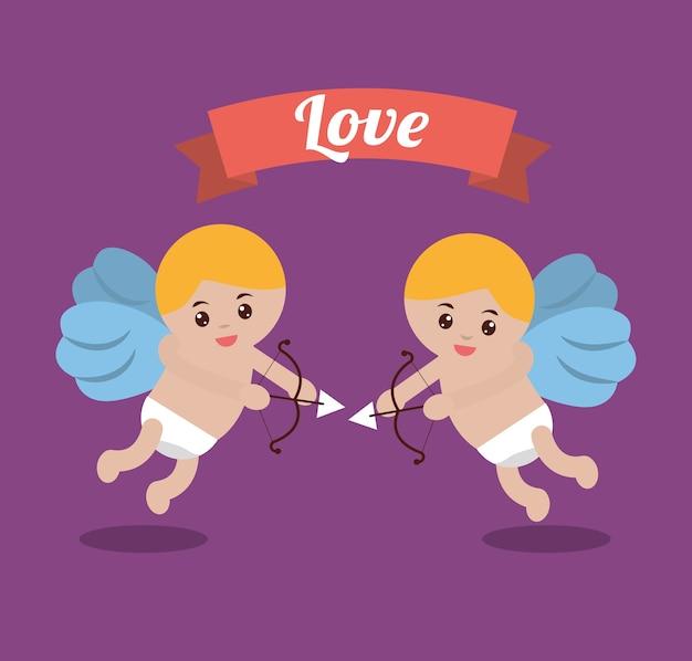 Amour couple cupidon arc flèche bannière