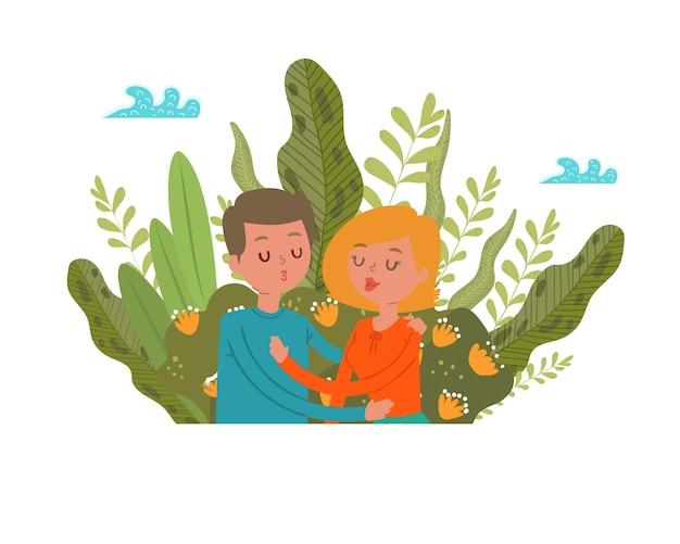 Amour couple herbe, nature en plein air ensemble, été heureux le long des loisirs, romantique, illustration. parc à pied, mode de vie jeune, relation amoureuse, fille mec en plein air.