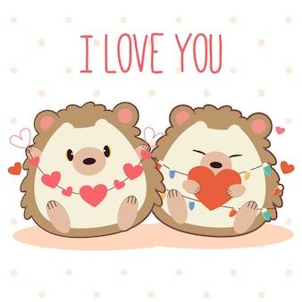 Amour de couple mignon de hérisson sur pois blanc et rose.