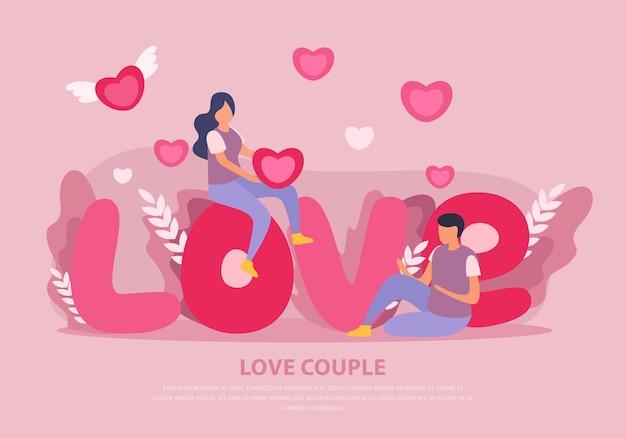 Amour Couple Plat Avec Gros Titre Rose Vecteur gratuit