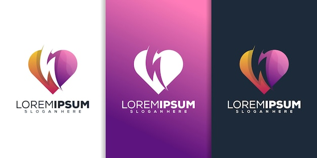 Amour avec la création de logo de tonnerre