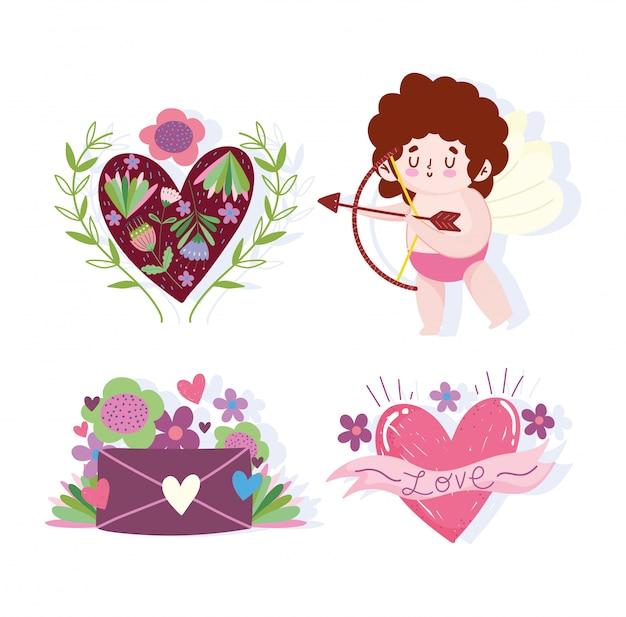 Amour cupidon lettre coeur fleurs décoraiton floral illustration vectorielle de dessin animé romantique
