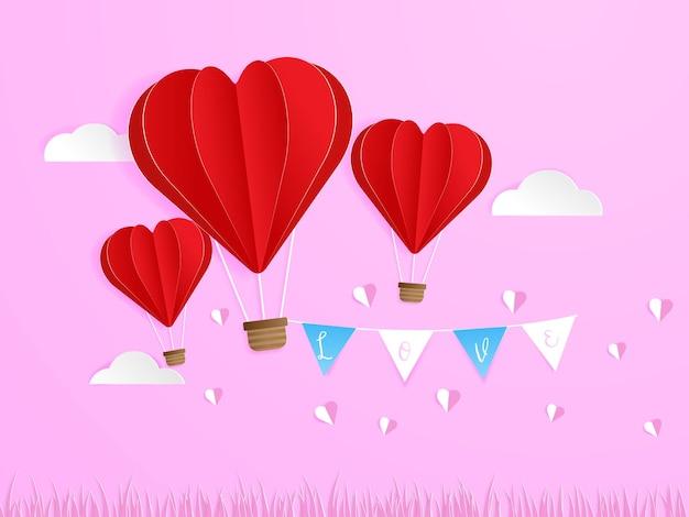L'amour dans l'air, ballon en forme de coeur rouge volant dans le ciel avec style d'artisanat papier drapeau amour, illustration de carte de voeux saint valentin