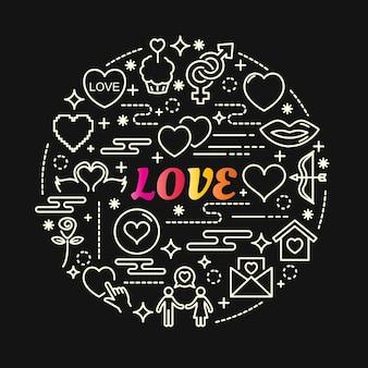 Amour dégradé coloré avec jeu d'icônes de ligne