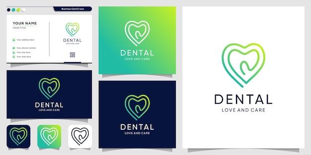 Amour dentaire logo avec style de dessin au trait et conception de carte de visite vecteur premium