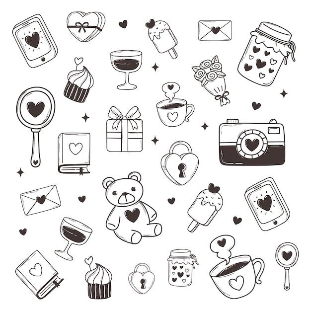Amour doodle romantique ours fleur cadeau caméra livre mail décoration illustration